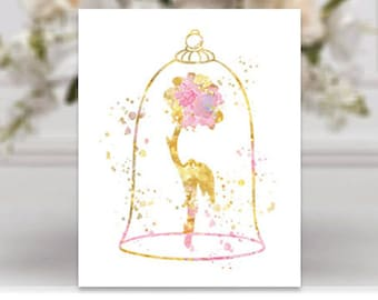 Beauty and the beast Rose Watercolor Art Print Rose Art Rose painting poster Gold Rose Gold home decor disney wedding gift engagement gift