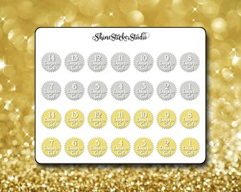 Countdown Stickers - Choice of Colors - Two Sets 2 Week Countdown Planner Stickers for Any Planner ECLP Happy Planner Stickers