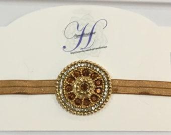 Girls Headband - Photo Prop, Bronze, Indian hair bow, Vintage, Wedding