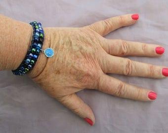 Leather Wrap Bracelet - Virgin Mary Bracelet - Blue Enamel Bracelet - Lourdes Bracelet - Religious Jewelry - Catholic Gifts