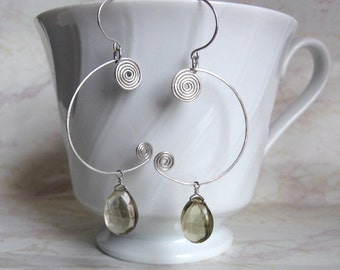 Lemon Quartz Earrings with Silver Coils
