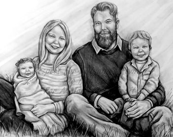 16x20, 3-4 subject family pencil portrait with Baby in Heaven. Made to Order. Matting Included.