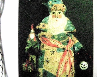"""Primitive Folk Art Santa-""""American Santa with Gnome"""" Gift Tags of Original Design-Set of 12 Tags w/Strings for Quaint Holiday packages/bags."""