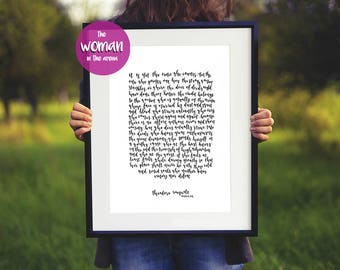 The Man in the Arena, Woman, Graduation Gift for her, gift for sister, gift for best friend, motivational quote, While daring greatly print