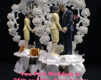 Its Never To LATE Mature Senior Older Wedding Cake Topper or Anniversary 25th or 50th True love White, Silver or Gold Golden 25 50 Romantic