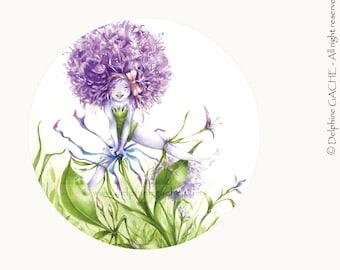 Miroir de poche thème féerique - Ail ! Que la vie est belle ... - Illustration Delphine GACHE