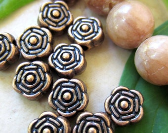 36 Antique copper rose flower copper beads 6.5mm craft jewelry supplies spacer beads B458-W7