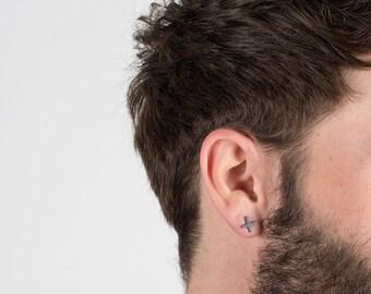 Tiny Cross Earring, Small Cross Earring, Cross Earring, Cross Earring for Men, Men's Cross Earring, Black Cross Men, Black Earring for Men