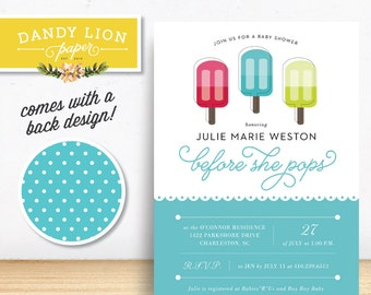About to Pop Blue Popsicle Baby Shower Digital Invitation - DIY Printable