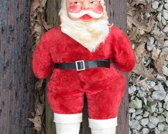 Vintage Stuffed Plush Santa Claus Doll Plastic Face 20 Inches Tall
