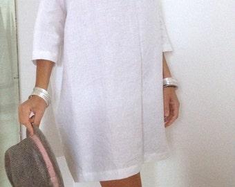 Linen Dress - Plus Size Clothing - Linen Tunic - Linen Womens Clothing - White Tunic - XXL Dress - 3X Womens Clothing - Oversized Shirt