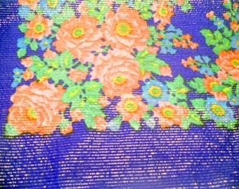Soviet vintage woolen shawl with floral pattern Russian style Shawl with flowers Shawl with shining thread (lurex) Floral head scarf