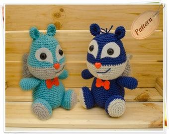 Crochet Squirrel Pattern, Amigurumi Squirrel Pattern, Blue Squirrel PDF, Woodland Squirrel Pattern, Crochet Chipmunk PDF, Squirrel Tutorial