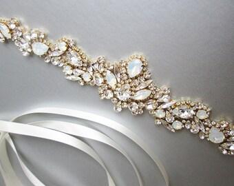Opal bridal Swarovski belt, Crystal belt sash in silver or gold, Wedding belt, Waist sash, Swarovski Opal bridal belt, Rhinestone belt sash