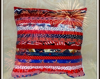 Stand Tall Pillow, Patriotic Pillow, USA Pillow, Red white and blue, stars Pillow, flag pleated pillow, We stand pillow