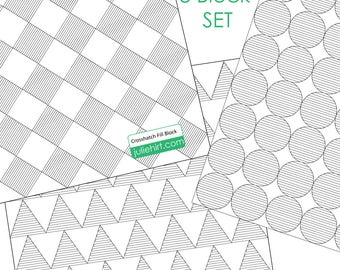 3 BLOCK FILL SET - Longarm Quilting Digital Pattern for Handiquilter Gammill Statler Stitcher Long Arm Machine