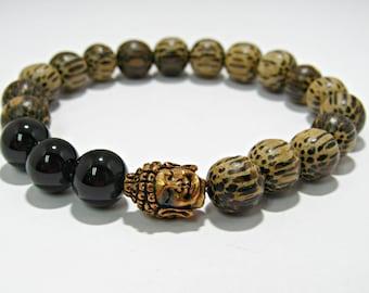 Buddha Onyx Bracelet, Palm Wood Bracelet, Mens Boho Bracelet, Handmade Bracelet, Jewelry, Onyx, Mens Jewelry, Buddha, Gift for your Man