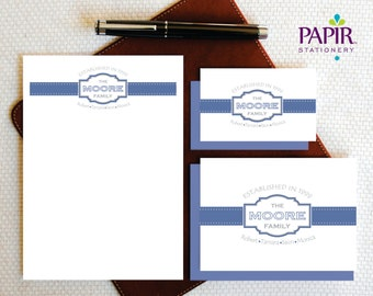 Family Stationery Set- ESTABLISHED YEAR Note Cards and Notepad - Complete Stationery Set - Personalized Family Stationery - FCS004