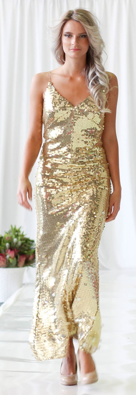 Gold sequin prom dress gold sequin reception dresssequin like this item ombrellifo Gallery