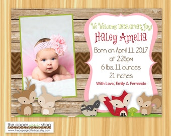 Woodland Creatures Birth Announcement | Forest Friends Birth Announcement | It's a Girl Birth Announcement | Birth Announcement with Photo
