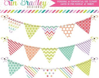 80% OFF SALE Sugar Bunting Clipart Graphics Digital Banner Flag Clip Art Personal & Commercial Use in Soft Rainbow Colors