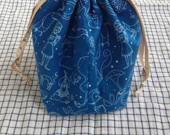 medium knitting project bag shawl sack (socksack) - constellations