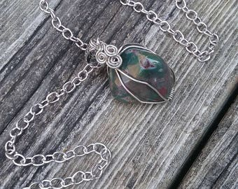 Bloodstone Necklace, Green Crystal Pendant, Gemstone Necklace, boho Necklace, Gypsy jewelry, grounding Chakra Stone ,wiccan pagan