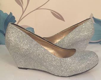 Silver Glitter Wedges - Silver - Bridal Shoes - Bridesmaid - Wedding - Prom - Customised Shoes - Sparkle - UK Size 3-8