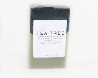 Tea Tree Hand and Body Soap, Activated Charcoal, Cleanse, Detox
