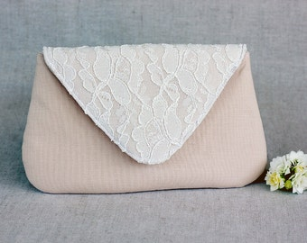 Blush Clutch Ivory Lace Bridesmaid Clutch, White Wedding Bridal Clutch, Wedding Bridesmaid Lace Handbag Clutch Wedding White Ivory Bride