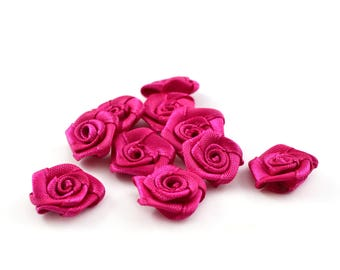 10 small 15 mm fuchsia satin flowers