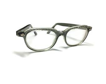 Gris de montures de lunettes strass | Cadres de l'oeil de chat | Lunettes vintages | des années 60 lunettes