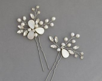 Silver rhinestone boho navette bridal hair pins Wedding pearl bridesmaid floral woodland hair pins Rustic hair piece bridal headpiece