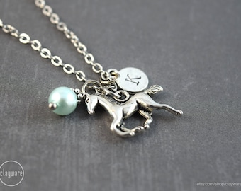 Personalized Silver Horse Necklace - Horse Pendant - Horse Jewelry - Equestrian Birthstone Jewelry - Birthstone Necklace