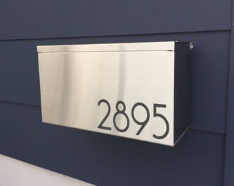 NEW! Large and deep Modern mailbox JEAN S - stainless steel, Modern Mailbox, Wall Mount mailbox - contemporary #169S