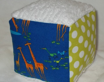 Blue Giraffes  and Dots Fabric Block Rattle Toy - SALE