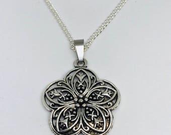 Silver 5 Petal Flower Necklace