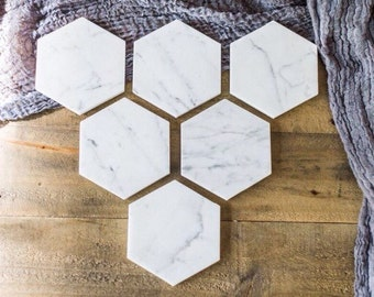 SIX Marble Hexagon Coasters | FREE SHIPPING | Set Of 6