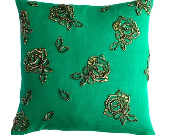 French Rose (small) cushion, hematite on emerald green linen