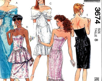 McCall's 3674 Misses Special Occasion Gown, Dress And Shawl Pattern, Sizes 8 & 10, UNCUT