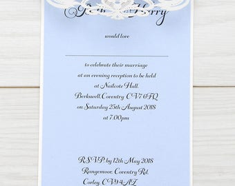 SAMPLE * Farrah Laser Cut Wedding Evening Invitation. Farrah Range
