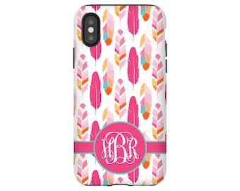 Feathers iPhone X case, monogram iPhone 8/8 Plus case, custom iPhone 7/7 Plus case, iPhone 6/6s/6 Plus/6s Plus case, monogrammed gift