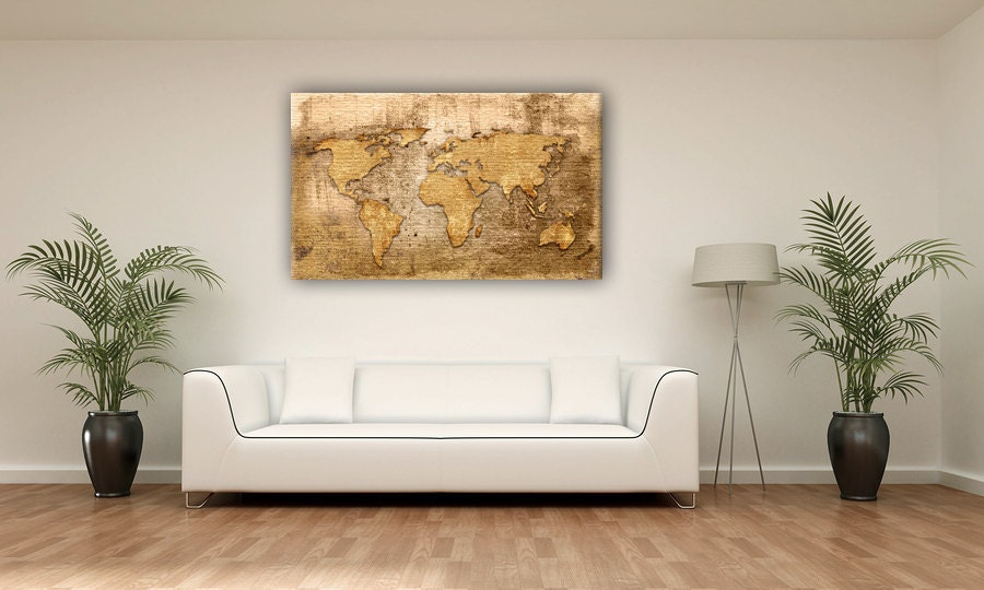 Gold color vintage world map canvas print wall decor zoom gumiabroncs Image collections