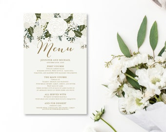 Wedding Menu Template DIY Wedding Menu Wedding Menu Printable Menu Template Floral Wedding Menu INSTANT Download PDF Template #CL112
