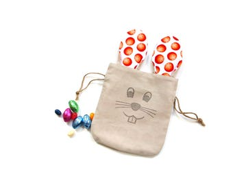 Easter bunny gift bag, treat bag, goodie bags, long ear bunny, linen gift bag, party bag, basket filler, Easter gift,