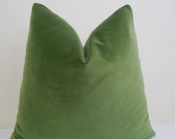 Lime Green  Velvet  Pillow Pillow Cover - Cotton Velvet - 12 x 18..................... - 24 x 24 - 26 x 26