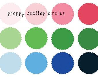 Preppy Scallops Clip Art - Instant Download  - personal or commercial use - for scrapbooking, logos, web design