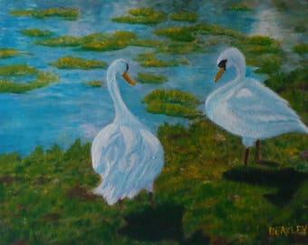 Swan Painting Swans Acrylic Painting Swan Canvas Painting Swans Art Swan Acrylic 8 x 10 Inch Painting