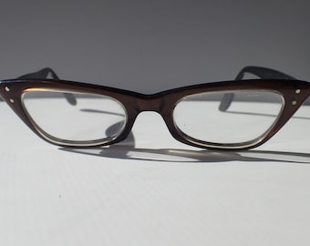Bausch & Lomb Eyeglasses Frame Small Reading Glasses Rx Lens Vintage 1950s Horn Rim