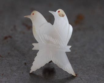 Mother of Pearl Birds Lapel Pin - Antique Brooch